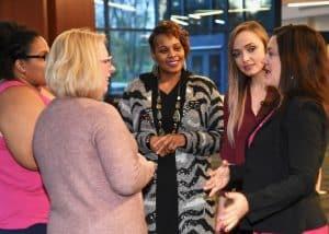 a group of women speak