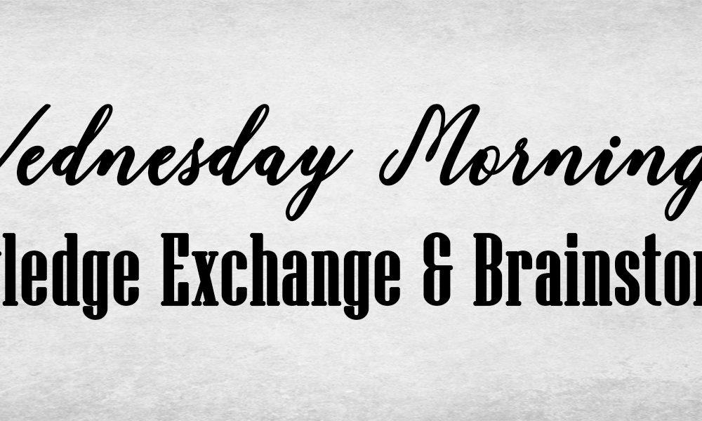 Wednesday morning Knowledge exchange and brainstorming